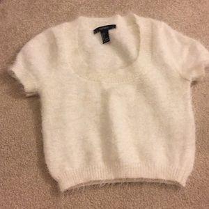 fuzzy white sweater crop top